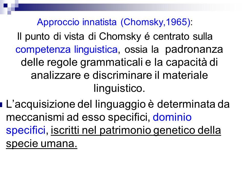 Approccio innatista (Chomsky,1965): Il punto di vista di Chomsky é centrato sulla competenza linguistica, ossia la padronanza delle regole grammatical