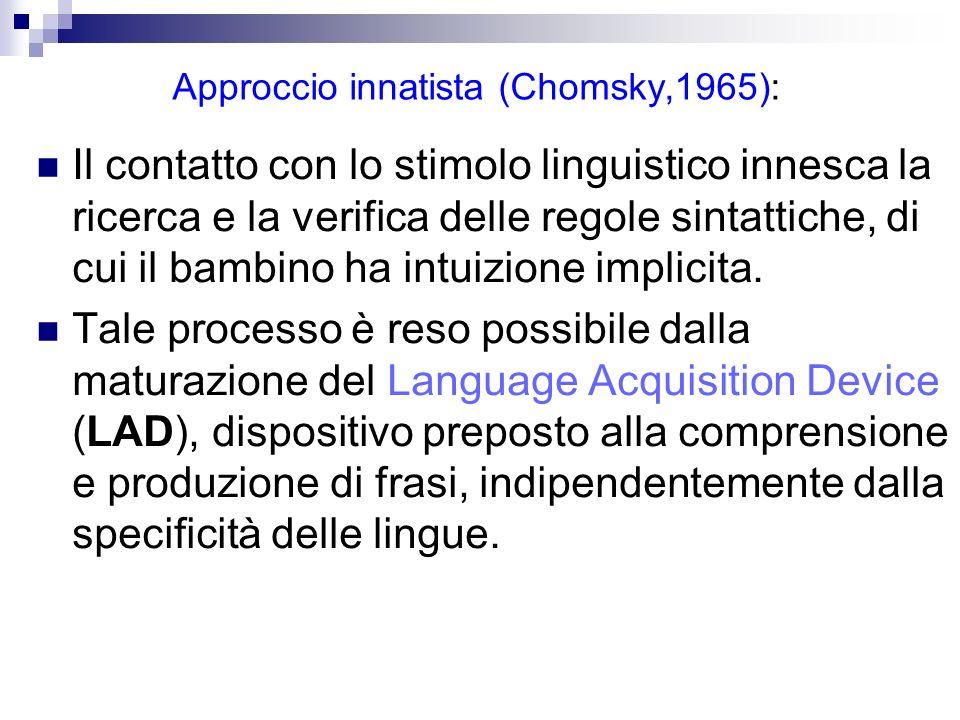 Approccio innatista (Chomsky,1965): Il contatto con lo stimolo linguistico innesca la ricerca e la verifica delle regole sintattiche, di cui il bambin