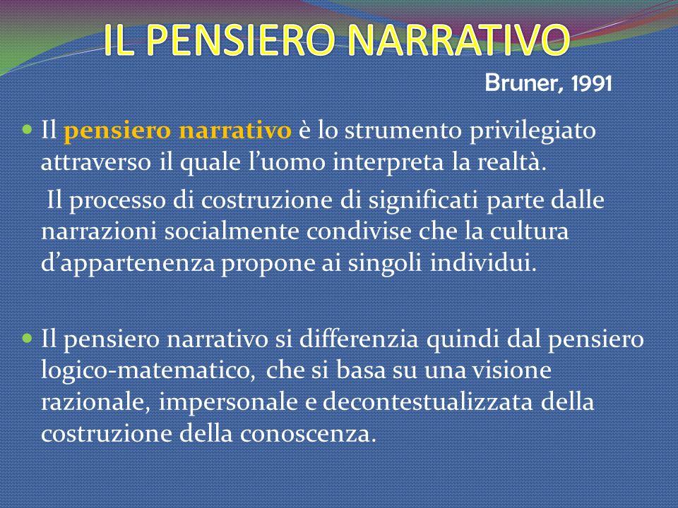 Il pensiero narrativo è lo strumento privilegiato attraverso il quale luomo interpreta la realtà. Il processo di costruzione di significati parte dall