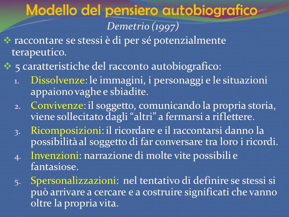 Modello del pensiero autobiografico Demetrio (1997) raccontare se stessi è di per sé potenzialmente terapeutico. 5 caratteristiche del racconto autobi