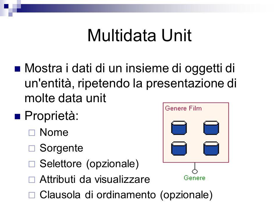 Multidata Unit Mostra i dati di un insieme di oggetti di un entità, ripetendo la presentazione di molte data unit Proprietà: Nome Sorgente Selettore (opzionale) Attributi da visualizzare Clausola di ordinamento (opzionale)
