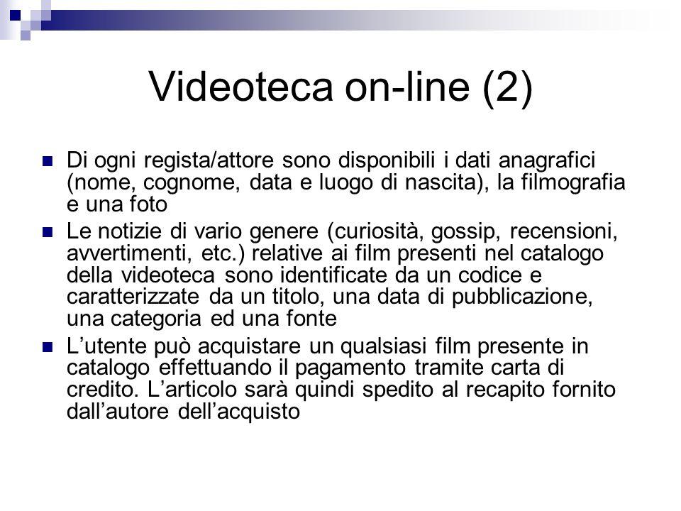 Videoteca on-line (2) Di ogni regista/attore sono disponibili i dati anagrafici (nome, cognome, data e luogo di nascita), la filmografia e una foto Le