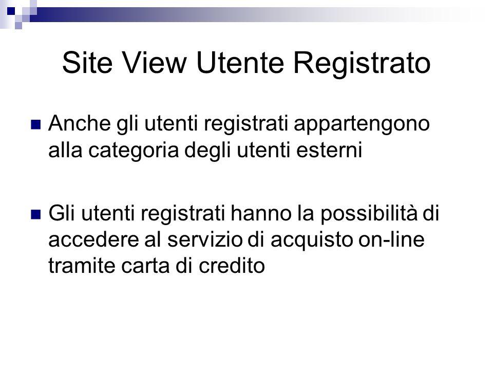 Site View Utente Registrato Anche gli utenti registrati appartengono alla categoria degli utenti esterni Gli utenti registrati hanno la possibilità di accedere al servizio di acquisto on-line tramite carta di credito