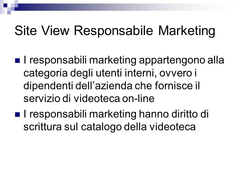 Site View Responsabile Marketing I responsabili marketing appartengono alla categoria degli utenti interni, ovvero i dipendenti dellazienda che fornisce il servizio di videoteca on-line I responsabili marketing hanno diritto di scrittura sul catalogo della videoteca