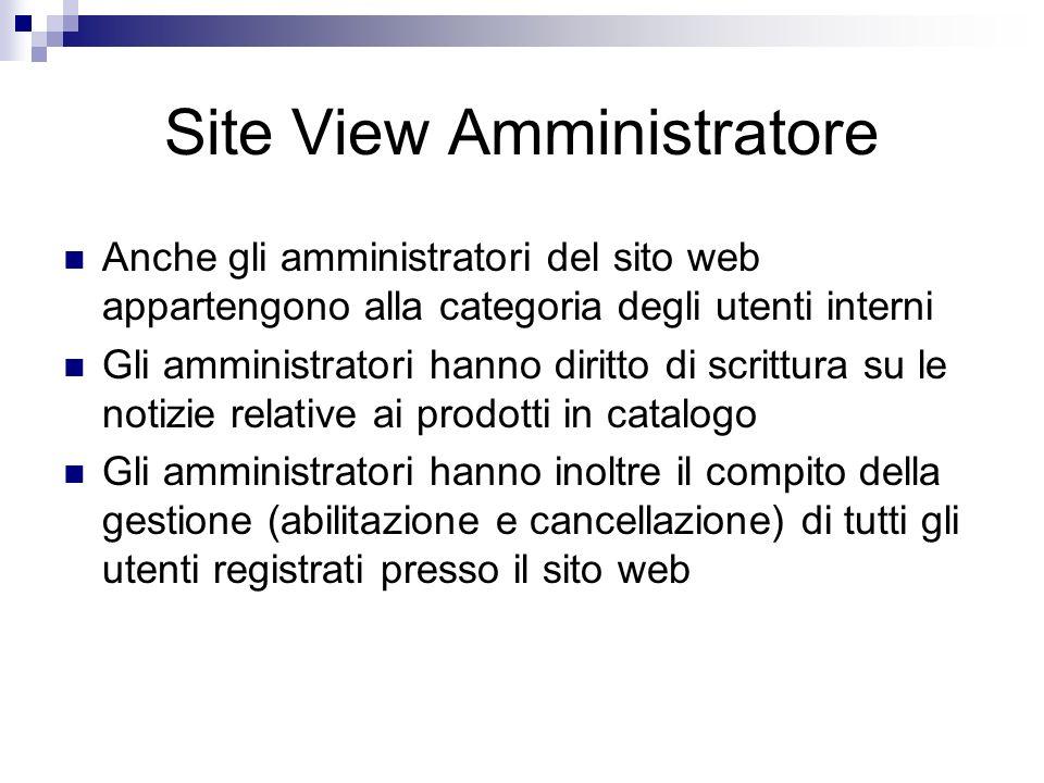 Site View Amministratore Anche gli amministratori del sito web appartengono alla categoria degli utenti interni Gli amministratori hanno diritto di sc