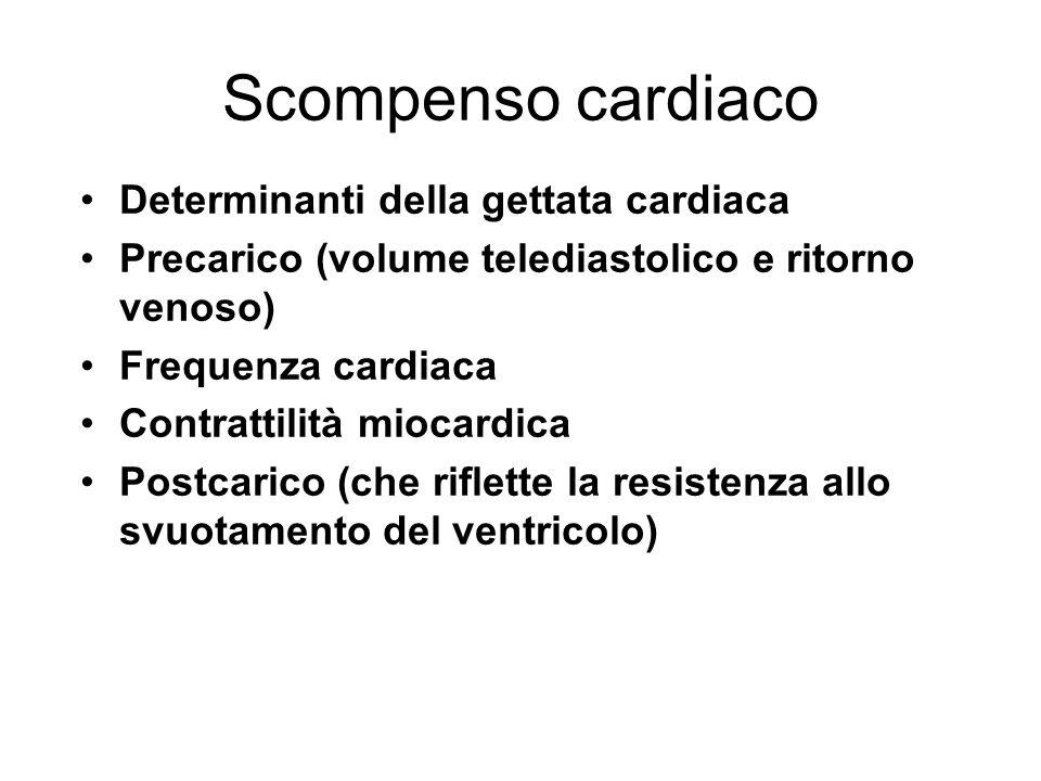 Scompenso cardiaco Determinanti della gettata cardiaca Precarico (volume telediastolico e ritorno venoso) Frequenza cardiaca Contrattilità miocardica