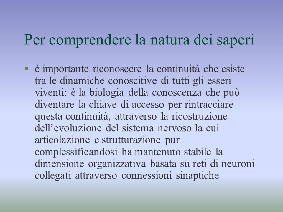 Per comprendere la natura dei saperi §è importante riconoscere la continuità che esiste tra le dinamiche conoscitive di tutti gli esseri viventi: è la