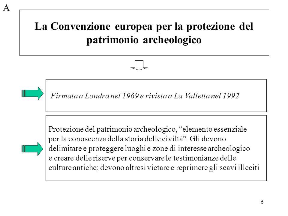 6 A Firmata a Londra nel 1969 e rivista a La Valletta nel 1992 Protezione del patrimonio archeologico, elemento essenziale per la conoscenza della sto