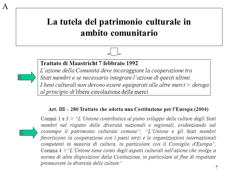 7 A Trattato di Maastricht 7 febbraio 1992 Lazione della Comunità deve incoraggiare la cooperazione tra Stati membri e se necessario integrare lazione