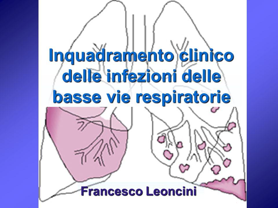 Inquadramento clinico delle infezioni delle basse vie respiratorie Francesco Leoncini