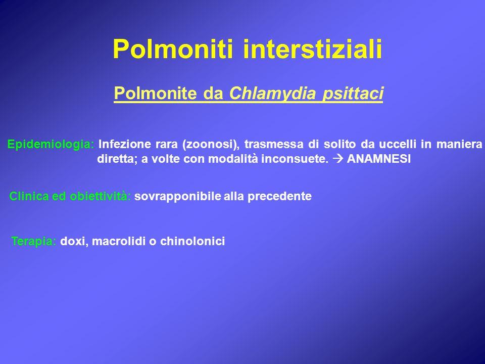 Polmoniti interstiziali Polmonite da Chlamydia psittaci Epidemiologia: Infezione rara (zoonosi), trasmessa di solito da uccelli in maniera diretta; a