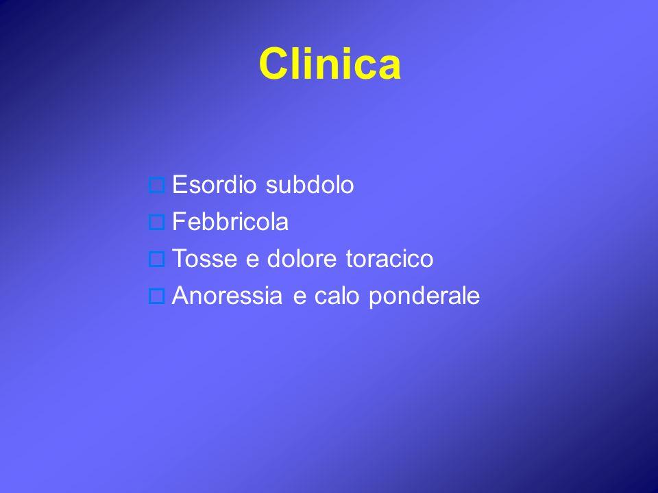 Esordio subdolo Febbricola Tosse e dolore toracico Anoressia e calo ponderale Clinica