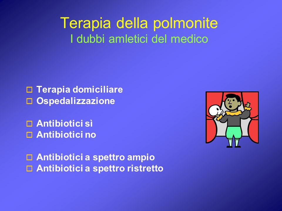 Terapia della polmonite I dubbi amletici del medico Terapia domiciliare Ospedalizzazione Antibiotici sì Antibiotici no Antibiotici a spettro ampio Ant