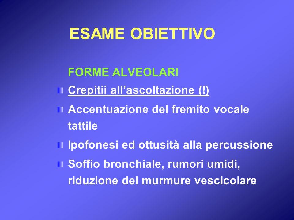 ESAME OBIETTIVO FORME ALVEOLARI Crepitii allascoltazione (!) Accentuazione del fremito vocale tattile Ipofonesi ed ottusità alla percussione Soffio br