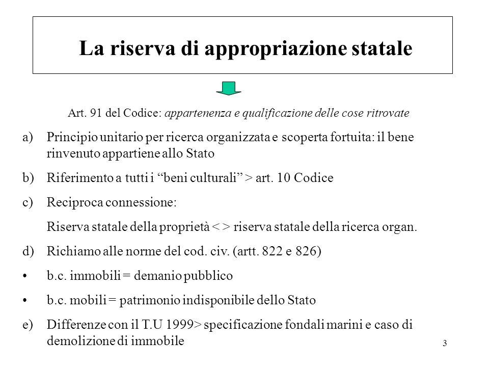 3 La riserva di appropriazione statale a)Principio unitario per ricerca organizzata e scoperta fortuita: il bene rinvenuto appartiene allo Stato b)Rif