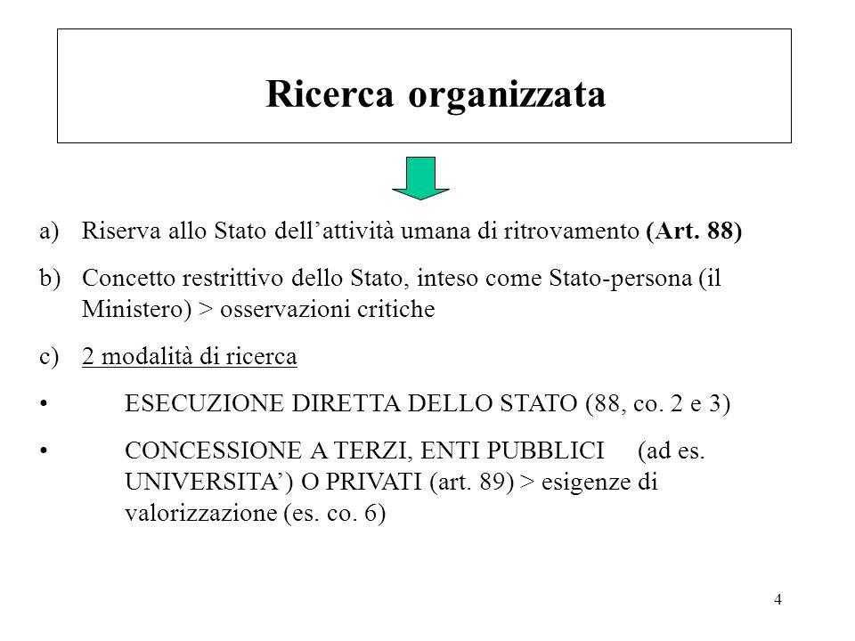 4 Ricerca organizzata a)Riserva allo Stato dellattività umana di ritrovamento (Art. 88) b)Concetto restrittivo dello Stato, inteso come Stato-persona