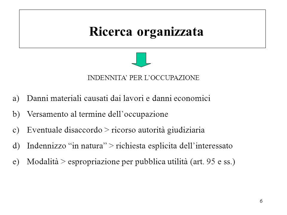 6 Ricerca organizzata a)Danni materiali causati dai lavori e danni economici b)Versamento al termine delloccupazione c)Eventuale disaccordo > ricorso