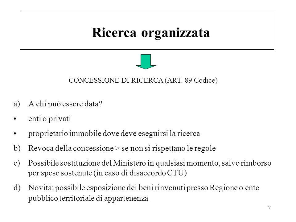 7 Ricerca organizzata a)A chi può essere data? enti o privati proprietario immobile dove deve eseguirsi la ricerca b)Revoca della concessione > se non