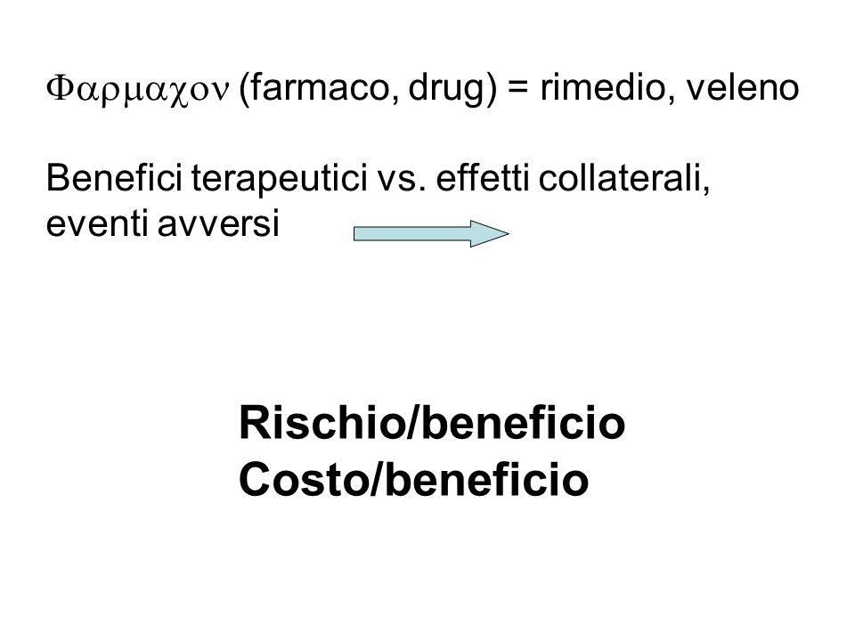 (farmaco, drug) = rimedio, veleno Benefici terapeutici vs. effetti collaterali, eventi avversi Rischio/beneficio Costo/beneficio