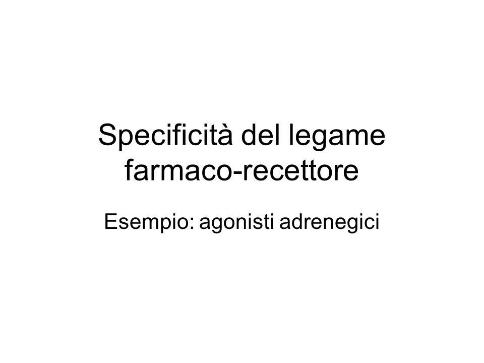 Specificità del legame farmaco-recettore Esempio: agonisti adrenegici