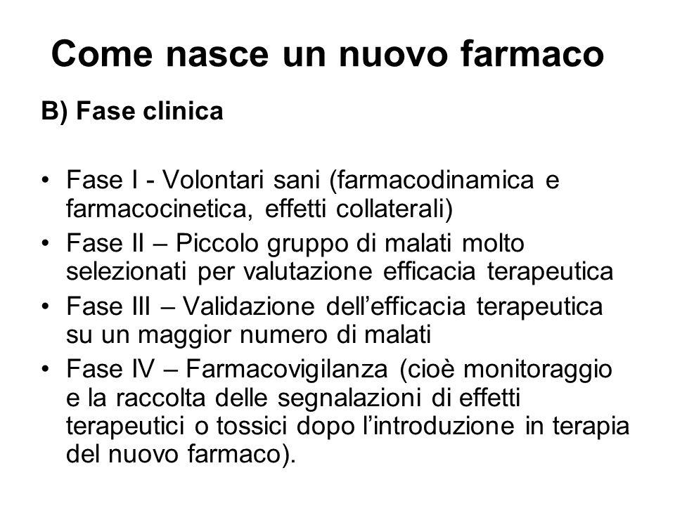 Come nasce un nuovo farmaco B) Fase clinica Fase I - Volontari sani (farmacodinamica e farmacocinetica, effetti collaterali) Fase II – Piccolo gruppo
