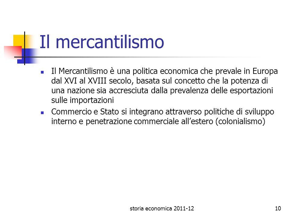 Il mercantilismo Il Mercantilismo è una politica economica che prevale in Europa dal XVI al XVIII secolo, basata sul concetto che la potenza di una na