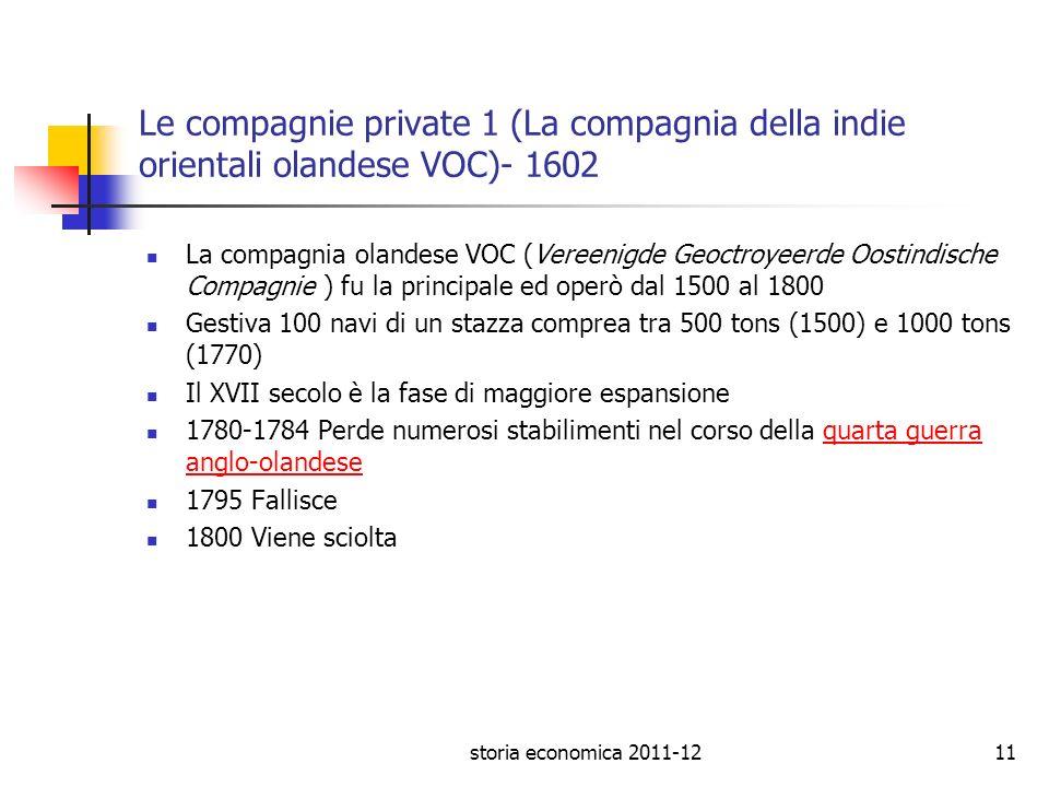 storia economica 2011-1211 Le compagnie private 1 (La compagnia della indie orientali olandese VOC)- 1602 La compagnia olandese VOC (Vereenigde Geoctr