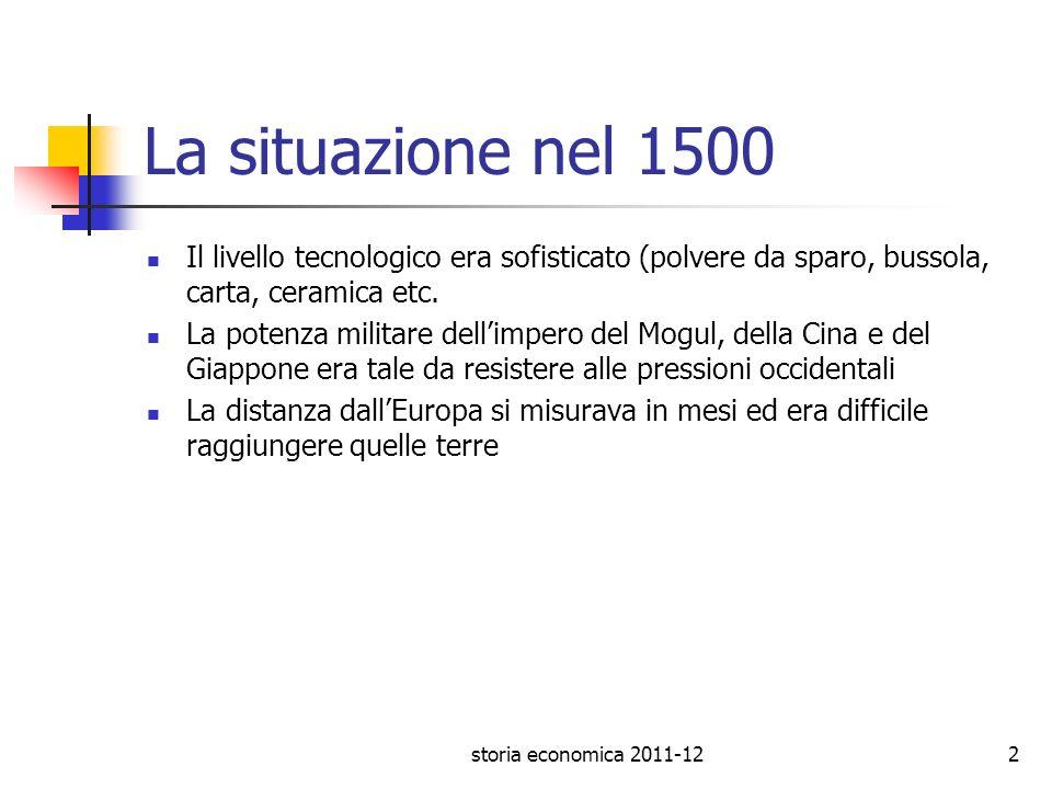 storia economica 2011-122 La situazione nel 1500 Il livello tecnologico era sofisticato (polvere da sparo, bussola, carta, ceramica etc. La potenza mi