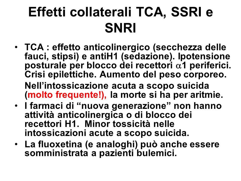 Effetti collaterali TCA, SSRI e SNRI I più recenti farmaci antidepressivi hanno una minore incidenza di effetti collaterali, ma sono comuni nausea, insonnia, ansia, anoressia, impotenza e diminuzione della libido.