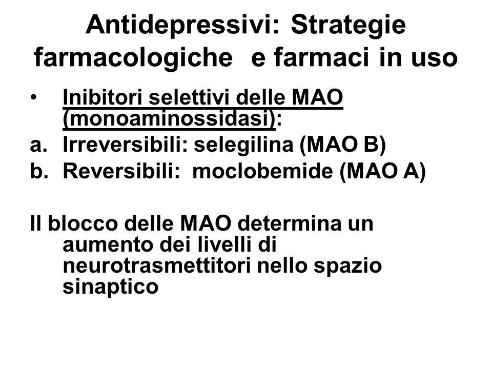 Antidepressivi: Strategie farmacologiche e farmaci in uso Antagonisti di recettori a.presinaptici 2 b.5-HT2: (trazodone) Il blocco del recettore presinaptico aumenta il rilascio di neurotrasmettitori