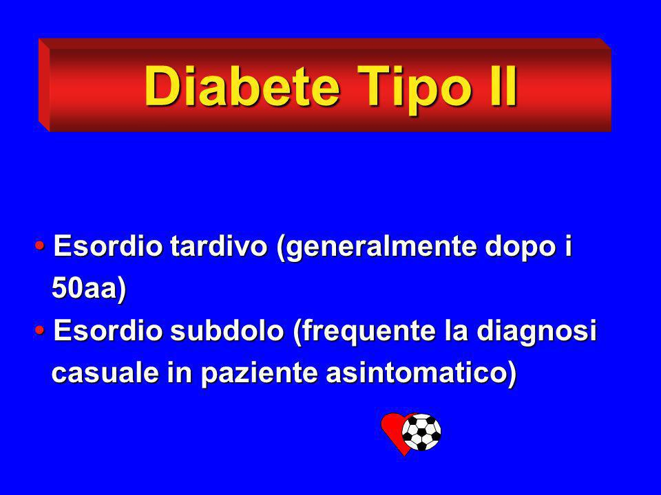Diabete Tipo II Esordio tardivo (generalmente dopo i Esordio tardivo (generalmente dopo i 50aa) 50aa) Esordio subdolo (frequente la diagnosi Esordio s