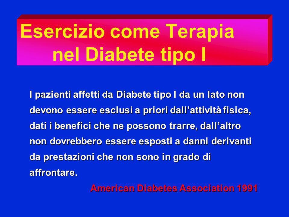 Esercizio come Terapia nel Diabete tipo I I pazienti affetti da Diabete tipo I da un lato non devono essere esclusi a priori dallattività fisica, dati