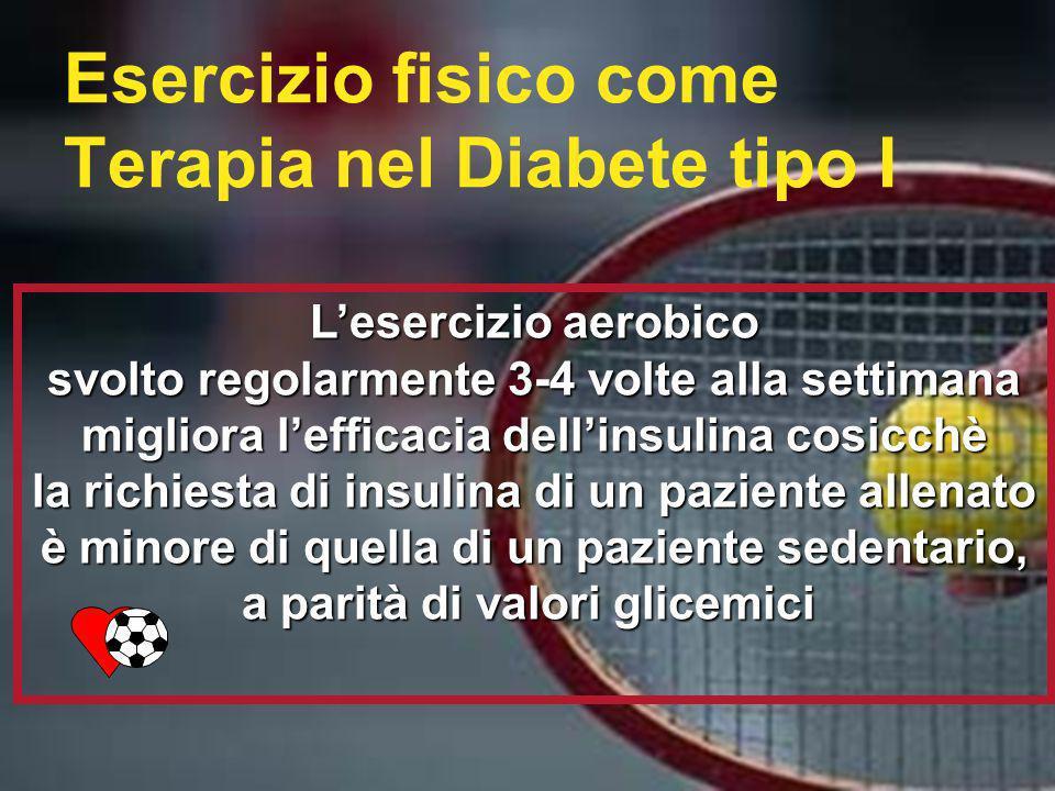 Esercizio fisico come Terapia nel Diabete tipo I Lesercizio aerobico svolto regolarmente 3-4 volte alla settimana migliora lefficacia dellinsulina cos