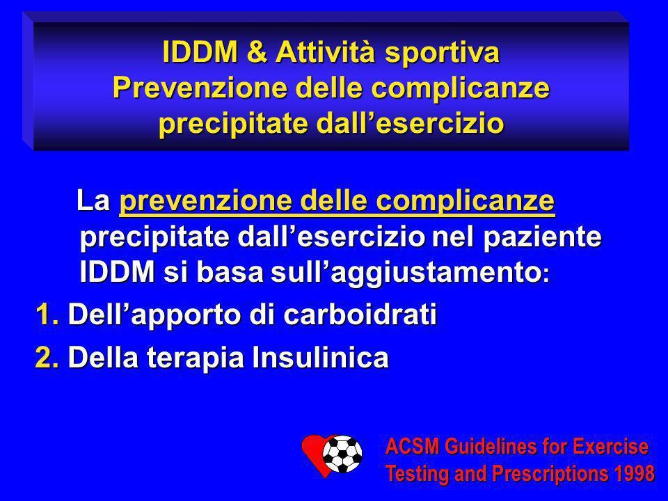 IDDM & Attività sportiva Prevenzione delle complicanze precipitate dallesercizio La prevenzione delle complicanze precipitate dallesercizio nel pazien