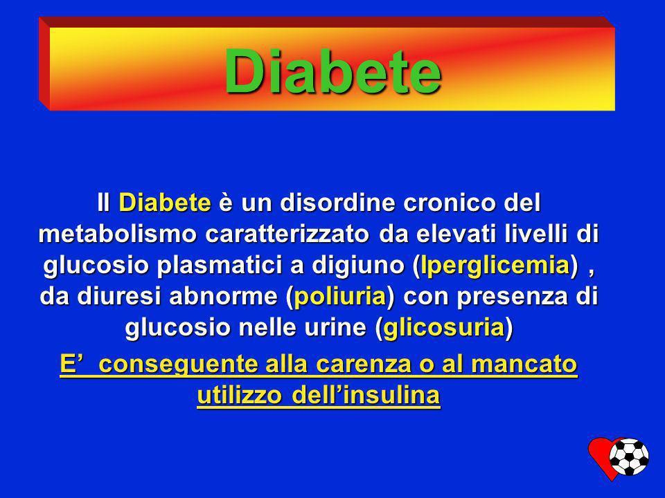 Diabete Il Diabete è un disordine cronico del metabolismo caratterizzato da elevati livelli di glucosio plasmatici a digiuno (Iperglicemia), da diures