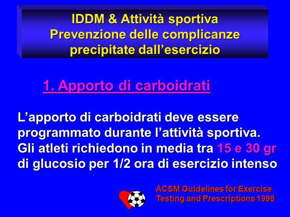 1. Apporto di carboidrati 1. Apporto di carboidrati Lapporto di carboidrati deve essere programmato durante lattività sportiva. Gli atleti richiedono