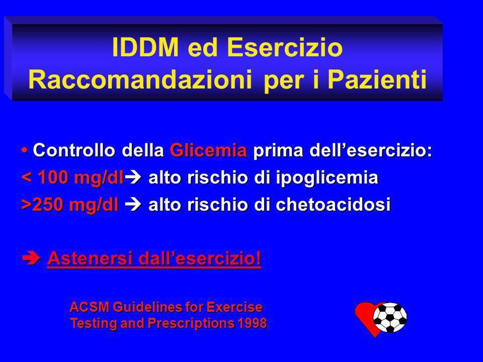 IDDM ed Esercizio Raccomandazioni per i Pazienti Controllo della Glicemia prima dellesercizio: Controllo della Glicemia prima dellesercizio: < 100 mg/