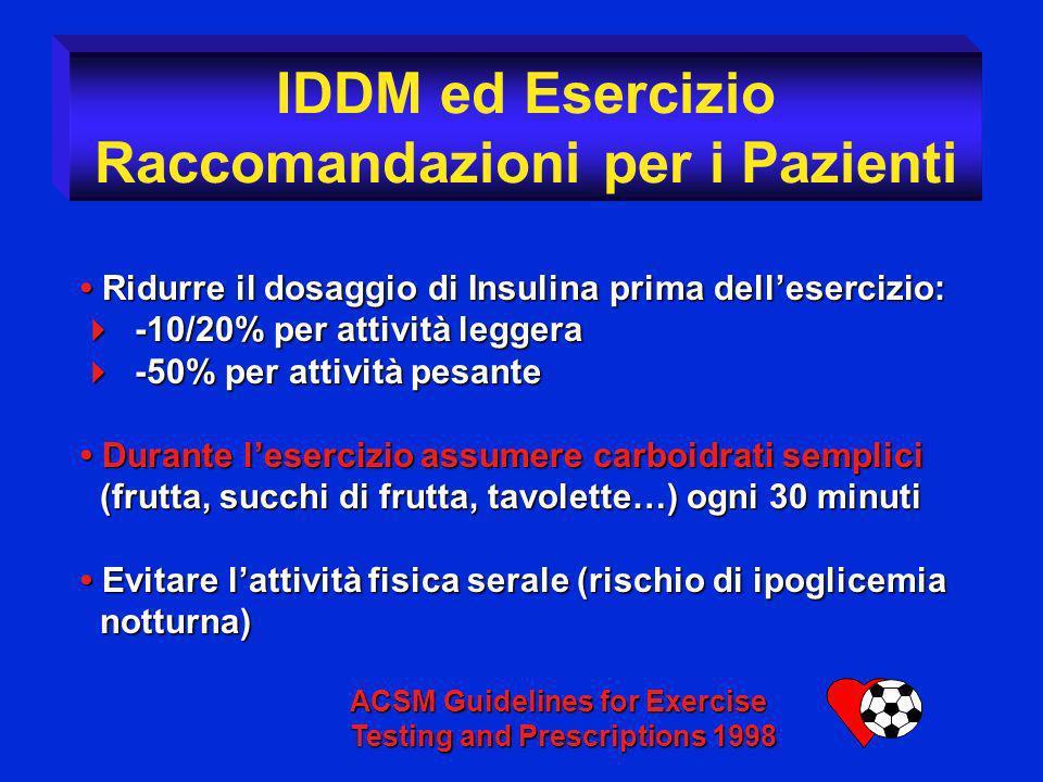 Ridurre il dosaggio di Insulina prima dellesercizio: Ridurre il dosaggio di Insulina prima dellesercizio: -10/20% per attività leggera -10/20% per att