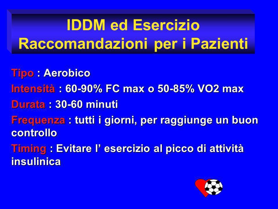 Tipo : Aerobico Intensità : 60-90% FC max o 50-85% VO2 max Durata : 30-60 minuti Frequenza : tutti i giorni, per raggiunge un buon controllo Timing :