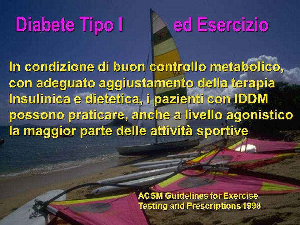 Diabete Tipo I ed Esercizio In condizione di buon controllo metabolico, con adeguato aggiustamento della terapia Insulinica e dietetica, i pazienti co