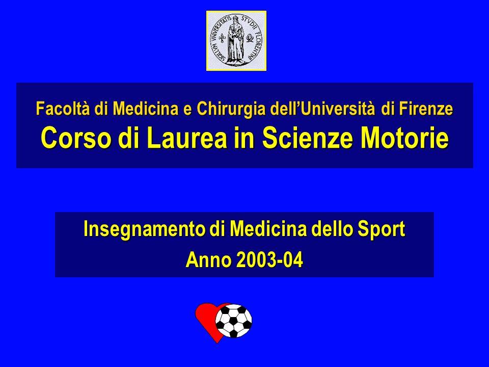 Facoltà di Medicina e Chirurgia dellUniversità di Firenze Corso di Laurea in Scienze Motorie Insegnamento di Medicina dello Sport Anno 2003-04