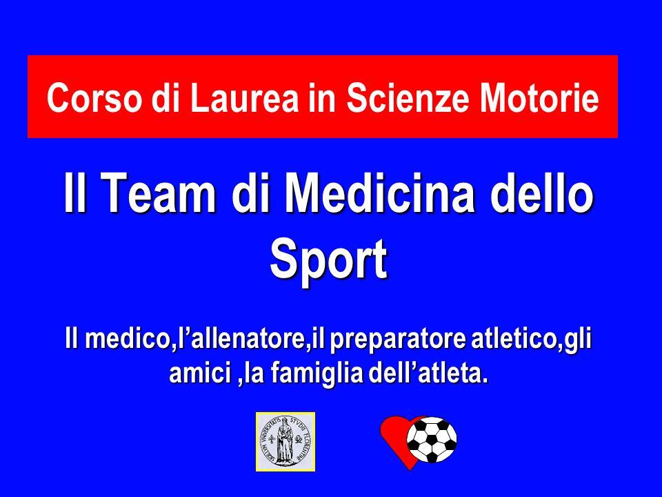 Corso di Laurea in Scienze Motorie Il Team di Medicina dello Sport Il medico,lallenatore,il preparatore atletico,gli amici,la famiglia dellatleta.