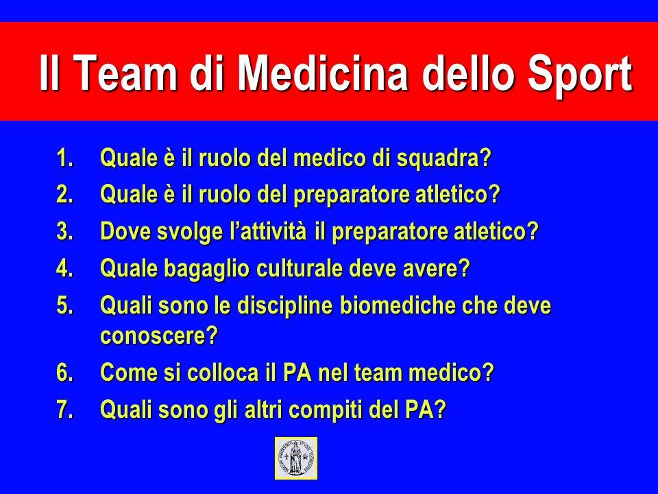 1.Quale è il ruolo del medico di squadra? 2.Quale è il ruolo del preparatore atletico? 3.Dove svolge lattività il preparatore atletico? 4.Quale bagagl