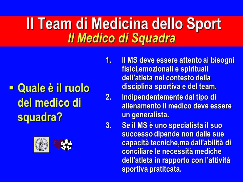 Quale è il ruolo del medico di squadra? Quale è il ruolo del medico di squadra? 1.Il MS deve essere attento ai bisogni fisici,emozionali e spirituali
