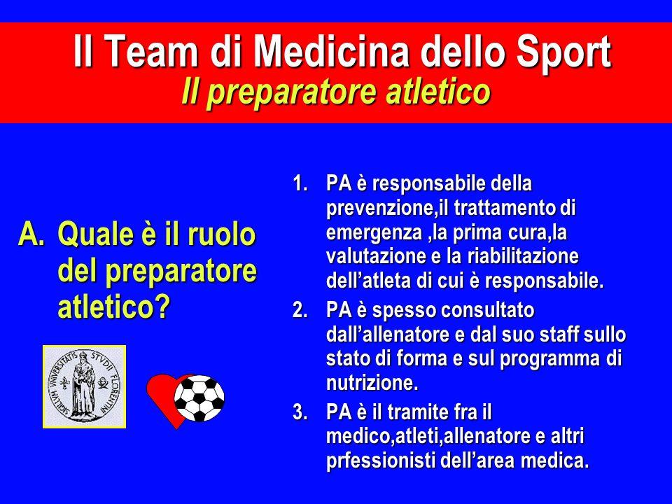 A.Quale è il ruolo del preparatore atletico? 1.PA è responsabile della prevenzione,il trattamento di emergenza,la prima cura,la valutazione e la riabi