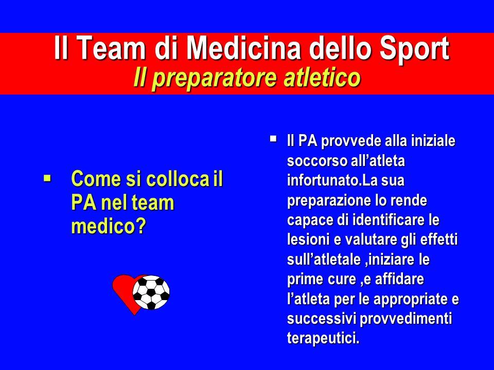 Come si colloca il PA nel team medico? Come si colloca il PA nel team medico? Il PA provvede alla iniziale soccorso allatleta infortunato.La sua prepa