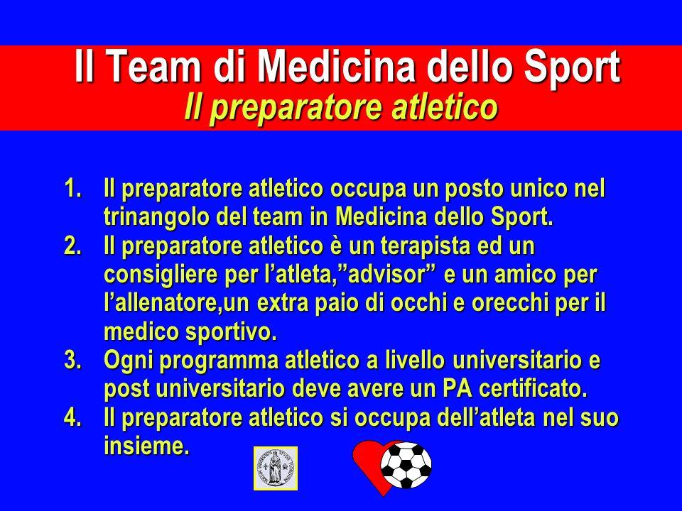 1.Il preparatore atletico occupa un posto unico nel trinangolo del team in Medicina dello Sport. 2.Il preparatore atletico è un terapista ed un consig