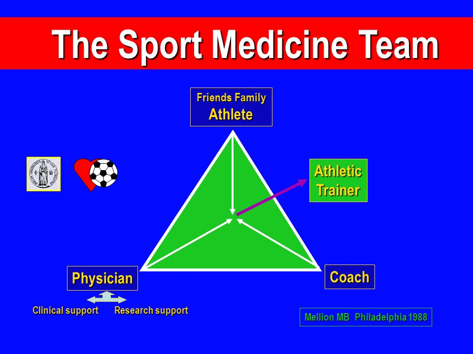 The Sport Medicine Team The Sport Medicine Team Clinical support Research support Physician Friends Family Athlete Coach AthleticTrainer Mellion MB Ph