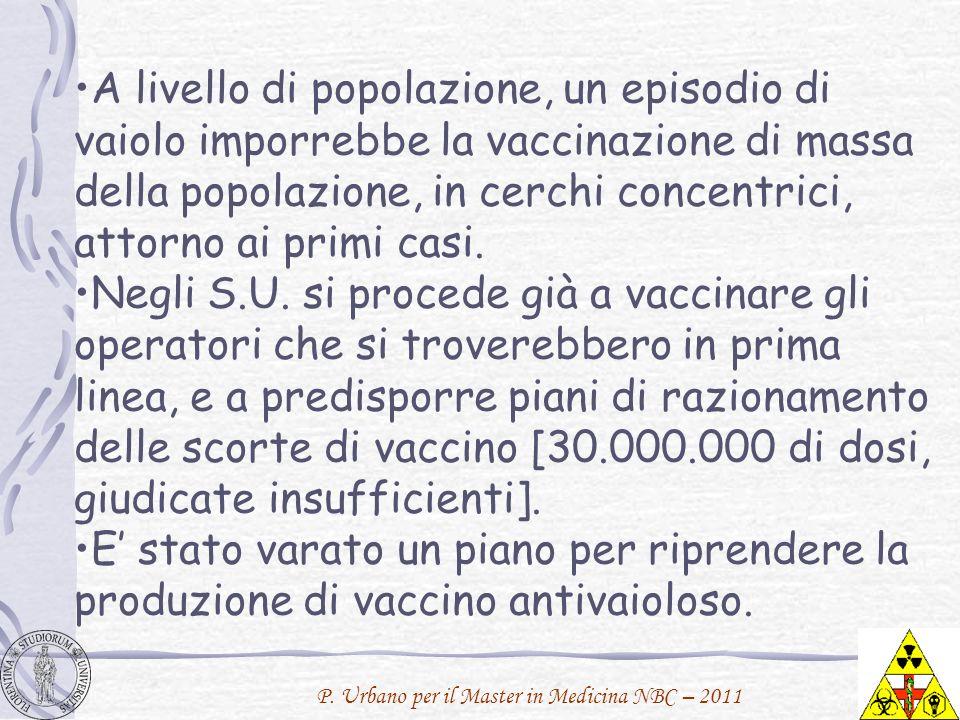 P. Urbano per il Master in Medicina NBC – 2011 A livello di popolazione, un episodio di vaiolo imporrebbe la vaccinazione di massa della popolazione,