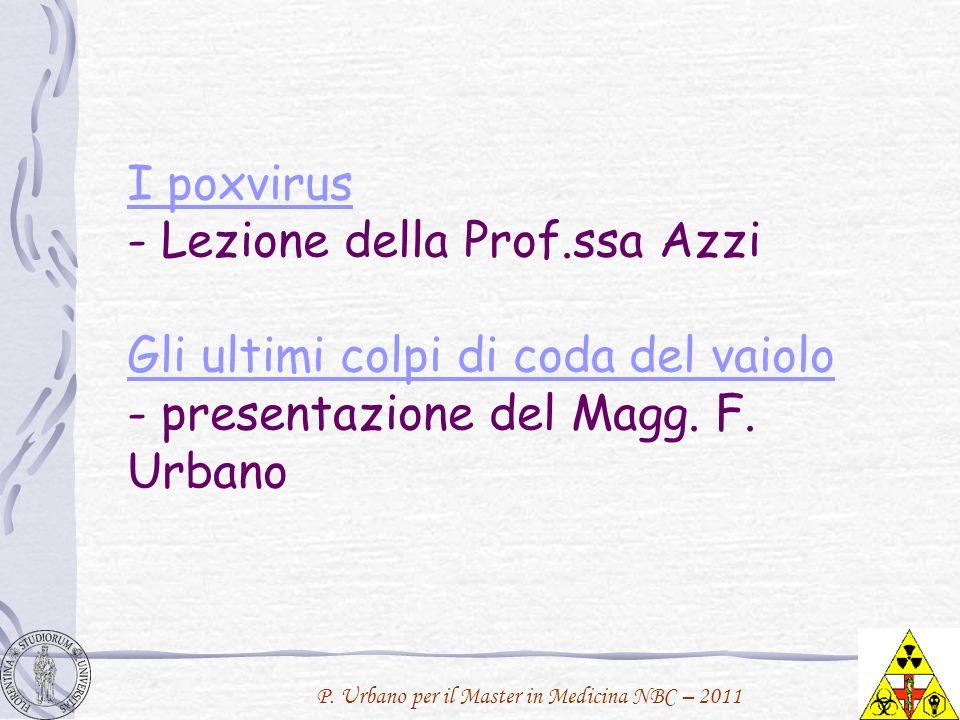 P. Urbano per il Master in Medicina NBC – 2011 I poxvirus I poxvirus - Lezione della Prof.ssa Azzi Gli ultimi colpi di coda del vaiolo - presentazione